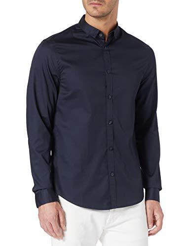 ARMANI EXCHANGE Satin Cotton Popeline Shirt Camicia, Blu Navy, L Uomo
