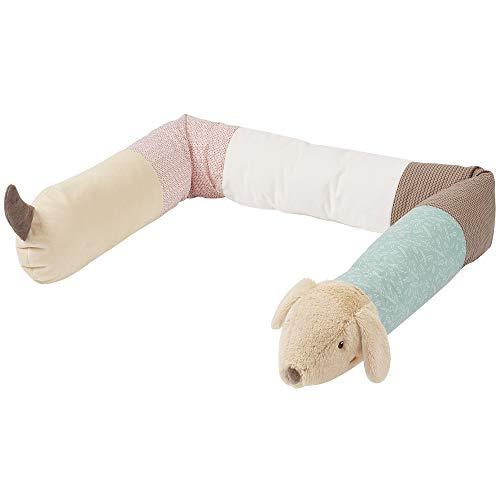 Fehn 060577 Nestchenschlange Dackel – Weiche Bettschlange in niedlichem Hundedesign – Multifunktional einsetzbar – Für Babys ab 0 Monaten – Länge: 180 cm