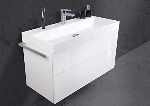 Intarbad ~ Design Badmöbel Set grifflos 100 cm Waschbecken Evermite mit Unterschrank, Bella Anthrazit Hochglanz Lack IB1820