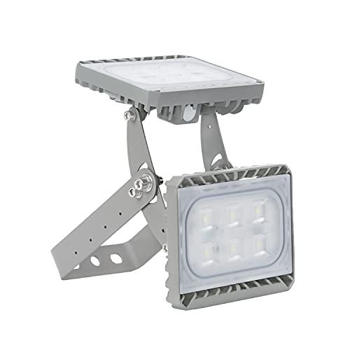 60W LED Foco Exterior de Doble Cabezas, Luz de Inundación de Alto Brillo 6000 Lumen Blanco Frío, Impermeable IP66 Iluminación de Seguridad para Patio, Camino, Jardín