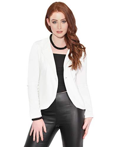 KRISP Chaqueta Mujer Vestir Casual Elegante Básica Blazer Talla Grande Traje Manga Larga Joven, (Blanco (3558), 46 EU (18 UK)), 3558-WHT-18