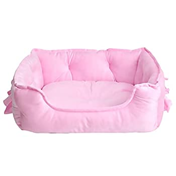 pawstrip Cute Princess Dog Bed Soft Breathable Bowknot Pet Cat Cushion for Small Dogs Waterproof Bottom Self-Warming Machine Washable  Pink