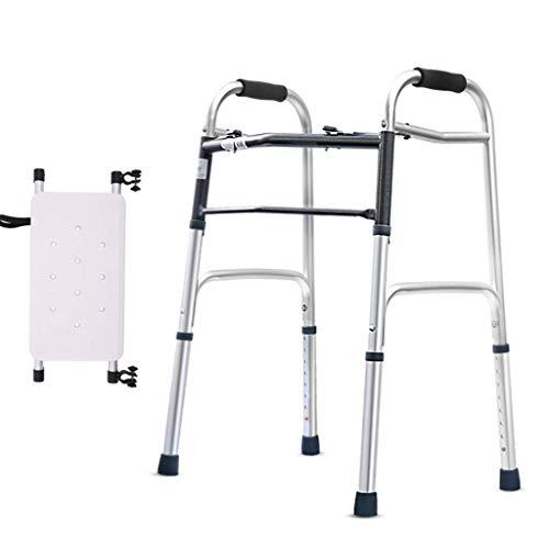 Walker, Mobility Adjustable Folding Walker Mit Sitz- Und Kunststoffgleitern, Höhenverstellbarer Aluminiumlegierungsrahmen