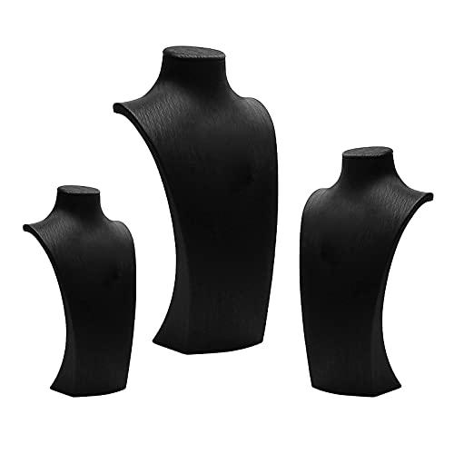 F Fityle Estante de Exhibición con Colgante de Collar Negro 12.5x23cm / 13.5x26cm / 17x33.5cm