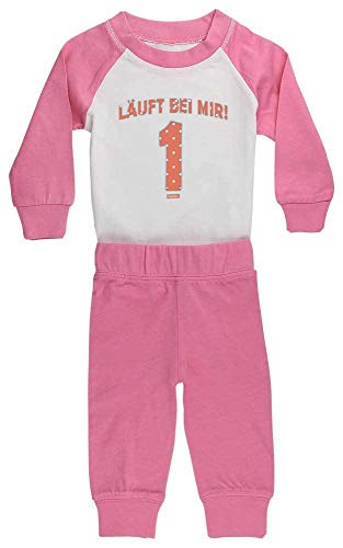 HARIZ HARIZ Baby Pyjama Läuft Bei Mir 1 Geburtstag Geschenkidee Plus Geschenkkarten Pink/Fuchsia 6-12 Monate