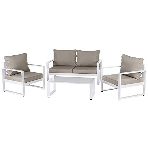 LOLAhome Conjunto de Muebles de jardín Anne de Aluminio Blanco y Topo