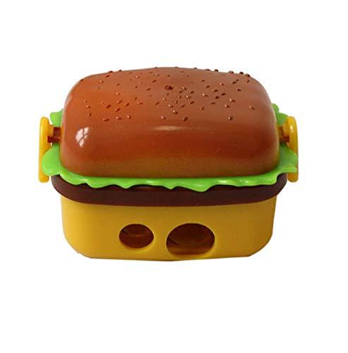Sacapuntas de diseño creativo de 2 agujeros con forma de hamburguesa sacapuntas con dos gomas/goma de borrar para niños, cuchillo de papelería, suministros de 1 pieza