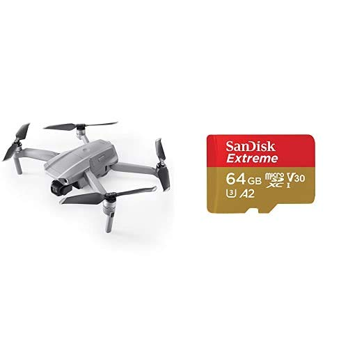 DJI Mavic Air 2 Drone Quadcopter UAV + SanDisk Extreme - Tarjeta de Memoria MicroSDXC de 64GB con Adaptador SD, Sin Care Refresh