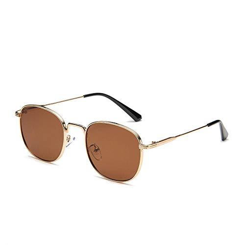 YHKF Gafas De Sol Retro Pequeñas para Hombre, Gafas Punk para Hombre, Anteojos Ovalados para Mujer, Diseñador-Gold_Tea