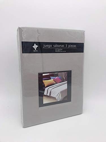 LEYENDAS Juego SABANAS 3 Piezas Liso 15 Color,100% Poliester (Gris, 150_x_200_cm)