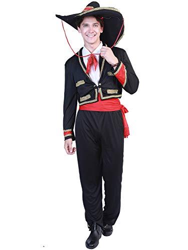 YONIER Disfraz para Hombre del Da de los Muertos Senor Mariachi Disfraz de Huesos Traje del Da De Muertos con Chaqueta Pantaln Y Sombrero Talla M