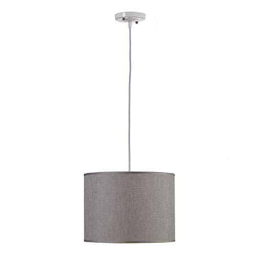 TU TENDENCIA ÚNICA Lámpara de Techo Colgante. Pantalla de Tela en Gris[Clase de Eficiencia Energética A++] Bombilla E27