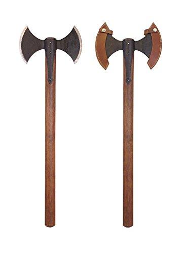 Unbekannt Mittelalterliche Doppelaxt mit Lederschutz Wikingeraxt