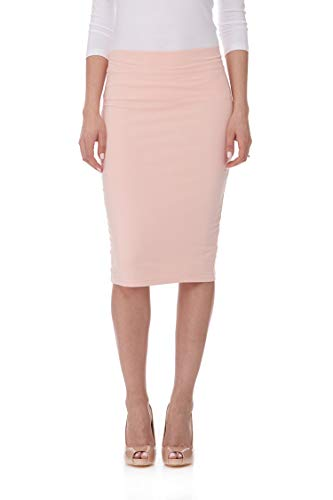 ESTEEZ Pencil Skirt for Women Knee Length Opaque and Modest Apricot Large
