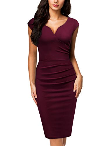 Miusol Women's V-Neck Sleeveless Vintage Slim Style Business Pencil Dress (Large, A-Burgundy)