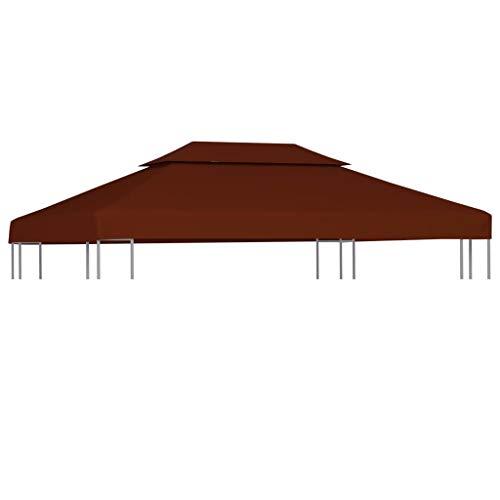 Benkeg Toldo De Cenador 4X3 M 2 Niveles Terracota 310 G/M² Impermeable, Toldo De Repuesto Techo del Cenador, Toldo De Jardín Toldo De Exterior Cenador para Patio