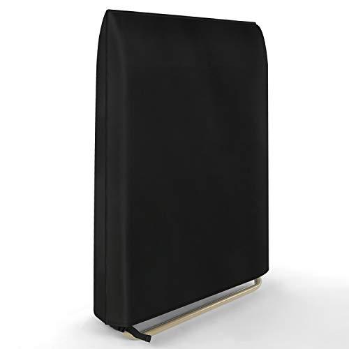 Dokon Lafuma Klappbar Relax-Liegestuhl Abdeckung, Wasserdicht, Winddicht, UV-Beständiges, Schwerlast 600D Oxford Gewebe Schutzhülle für Gartenliege Sonnenliege Relaxliegen (96x84cm) - Schwarz