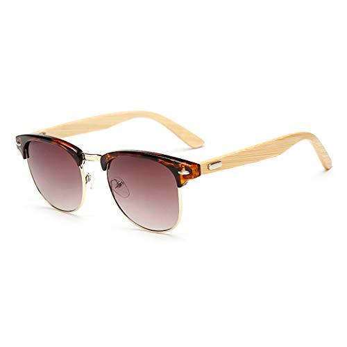 YTYASO Gafas de Sol Hombre Madera Media Montura Mujer Espejo Gafas de Sol de Madera Originales