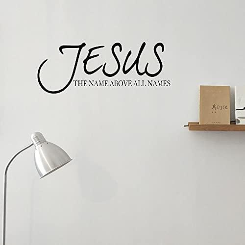 El nombre de Jesús es más alto que todos los nombres calcomanías de pared vinilo versículos de la biblia oración religiosa letras arte mural A4 80x28cm