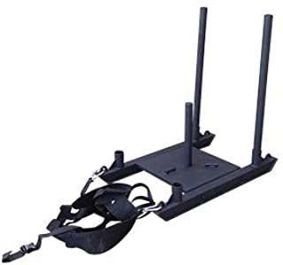 OneFitWonder Commercial Chariot Weighted Sled with Harness (1 Sled + 1 Harness Bundle) - Pull/Push Work Out/Resistance Training/Compact Size/Stores Flat/Black Powder-Coat Heavy Duty