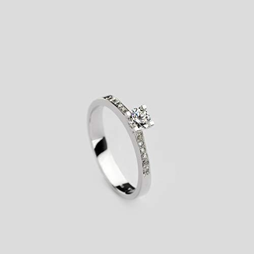 Diamonds in the Sand 14 Karat handgefertigter Verlobungsring aus Weißgold, zarter Diamantring mit natürlichem weißen Diamanten von 0,35 Karats
