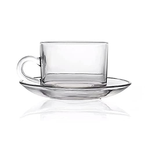 XDYNJYNL Elegante Taza de Vidrio de Simplicidad Vasos Reutilizables para Beber Diseño Duradero para el hogar y la Cocina Café Agua Té Helado Capuchino Latte Leche Jugo Bebidas Calientes