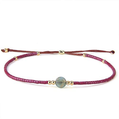 KELITCH New Miyuki Beaded Friendship Bracelets Womens Bohemian Adjustable Wrap Bracelet Bangle Crystal Agate Bracelets - Red B