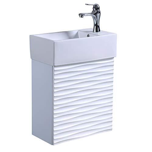 Renovators Supply Manufacturing Ripple Wall Mount Vanity Bathroom Sink Combo Heavy Duty Porcelain...