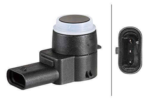 HELLA 6PX 358 141-281 Sensor, Einparkhilfe - gewinkelt - 3-polig - gesteckt - lackierbar - mit Befestigungsring