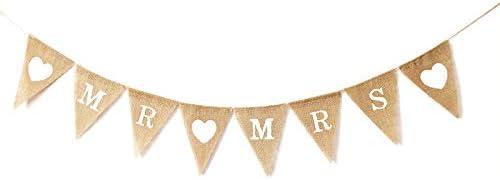LWR CRAFTS Burlap Bunting Banner Triangle Heart MR MRS