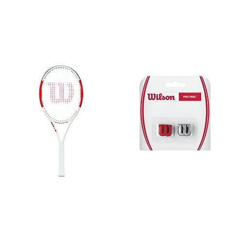 Wilson Raqueta de Tenis, Six.One Lite 102, Unisex, Jugadores intermedios, Rojo/Gris, Tamaño de empuñadura L1 + Pro Feel Antivibrador Raqueta-Unisex, Rojo/Plata, NS