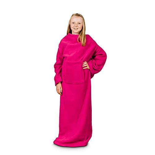 Froster Decke Bademantel Junior, weiche tragbare Decke mit Ärmeln für Kinder im Schulalter, Polarfleece, fuchsia, Einheitsgröße