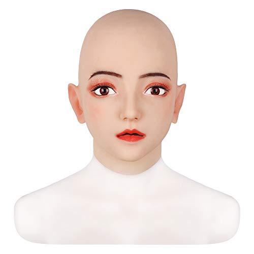 GPFDM Silikon Kopf Maske handgemachtes Gesicht weibliches Cosplay für Crossdresser Transgender Drag Queen für Halloween Kostüme