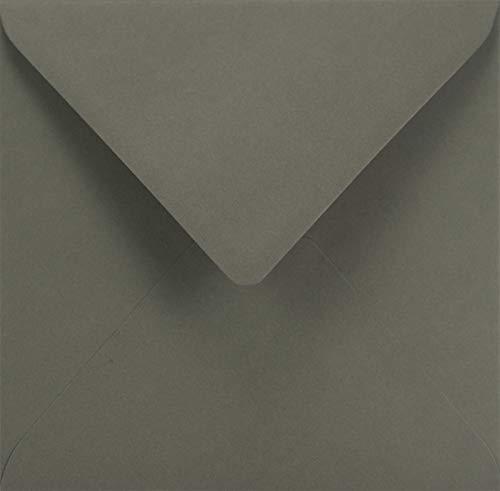 100 Dunkel-Grau quadratische Umschläge ohne Fenster Spitzklappe 153x153 mm 115g Sirio Color Anthrazite farbige Briefhüllen quadratisch Briefumschläge bunt für Hochzeits-Karten Einladungs-Karten