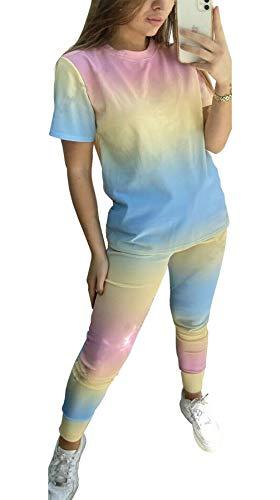 Islander Fashions Damen Loungewear Tie Dye Trainingsanzug Top und Jogger Co-Ord Set Pink/Gelb/Blau Mittel/Gro�