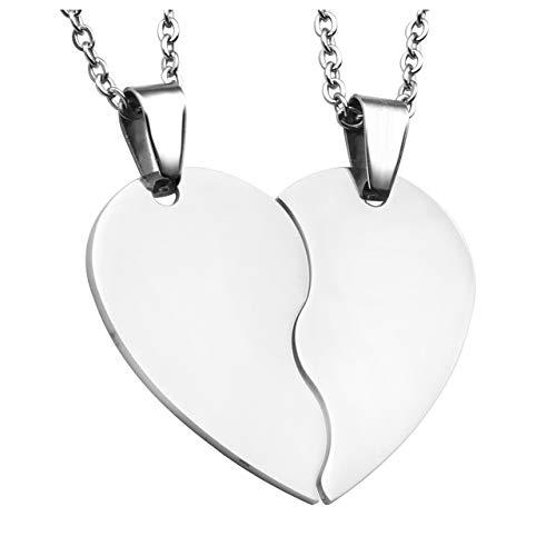 PiercingJak Personalized Gravur 2 Stücke Edelstahl 32mm Zwei halbes Herz Anhänger Halskette Freundschaftsketten Partner-Anhänger mit 24
