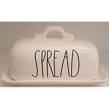 Rae Dunn SPREAD LL Covered Butter Dish White Ceramic