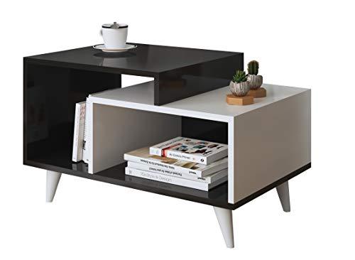 SAGE Table basse de salon - Blanc / Noir ( Brillant ) - Table de canapé - Table café moderne dans un design à la mode
