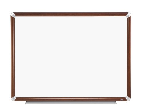 3M Porcelain Dry Erase Board, 72 x 48-Inches, Full Mahogany-Finish Frame