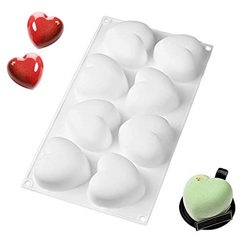 Foremki silikonowe, 8 otworów w kształcie serca, czekoladowe foremki na Walentynki, do słodyczy, babeczek, czekolady, babeczek