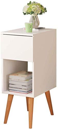 Mesita de noche maciza blanca cuadrada pequeña cajón se puede almacenar libro revista mesa de té 40 x 30 x 60 cm lisa