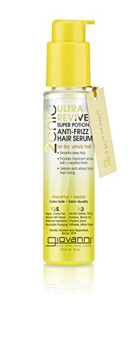 GIOVANNI 2chic Ultra Revive Super Potion, 2.75 oz. Anti-Frizz Serum, Pineapple & Ginger to Moisturize Dry Unruly Hair, Enriched with Coconut, Guava, Vitamin B5, Honeysuckle, Color Safe (1 Pack)