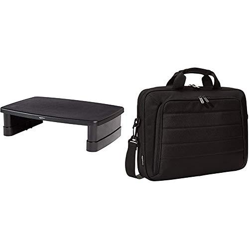 Amazon Basics Bildschirmständer, höhenverstellbar & Tasche für Laptop und Tablet, Schwarz, 40 cm
