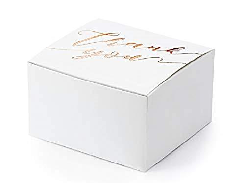 Vouwdoos geschenkdoos Thank You van wit & roségouden verpakking gastgeschenk-e bruiloftsdecoratie-ratie vormsel communie doop bedankje Candy-bar accessoires accessoires 6,0 x 5,5 x 3,5 cm 50 Boxen
