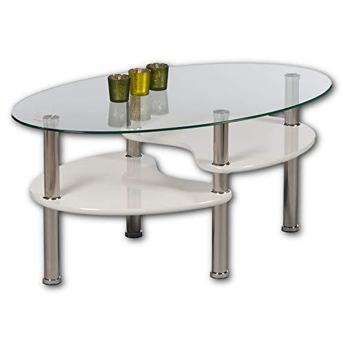 Stella Trading PANTY Couchtisch Glas oval mit zwei Ablagen in Hochglanz weiß - geräumiger Glastisch für Ihren Wohnbereich - 90 x 42 x 55 cm (B/H/T)