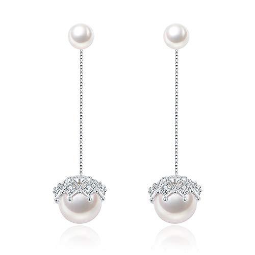 Pearl Drop Stud Earrings Double Jewelry Earrings for Women 925 Sterling Silver Line Lace Earrings