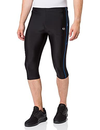 Ultrasport Pantalones de correr para hombre – pantalones de fitness 3/4 para hombre, con efecto de compresión y función de secado rápido, para fútbol, correr, marcha nórdica, ciclismo y otros deportes, Negro/Azul, L
