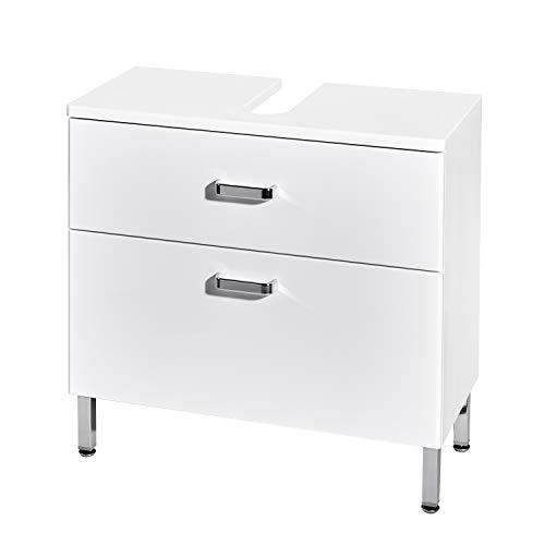 Schildmeyer Alexa Waschbeckenunterschrank, Holzdekor, weiß Glanz, 65,2 x 31,9 x 61,9 cm