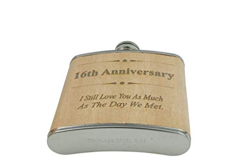 16th Anniversary Hip Flask 16 Year Anniversary Gift For Him