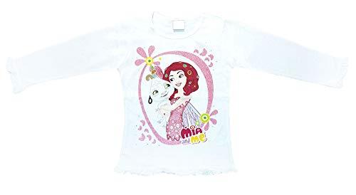 Mädchen Langarm Baby T-Shirt mit Mia and Me mit Einhorn ONO und Onchao in Weiß in Gr 104 110 116 122 128 für 3 4 5 6 7 Jahre (Modell 1, 110) tolles Geschenk